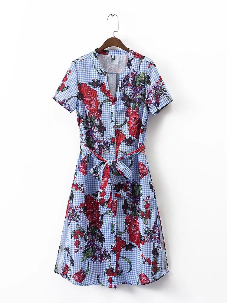 14889834b3b 2017ss New Woman Fashion Blue Checked FLORAL PRINT GINGHAM Midi TUNIC V  neck Waist belt Button up front Short Sleeved-in Dresses from Women's  Clothing on ...