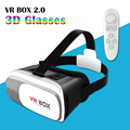 "High Quality Google cardboard HeadMount VR BOX 2.0 Version VR Virtual 3D Glasses + Remote Controller for 3.5""-6.0"" Smart Phone"