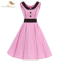 SISHION Comfortable Cotton Dress Sleeveless Summer Button Polka Dot Black Pink Red Big Swing 50s 60s