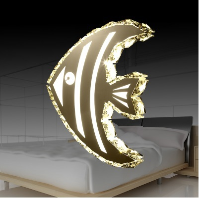 creative modern minimalist fish LED crystal wall lamp, for hallway stairs balcony bedroom bedside,bulb included AC 90V~260V modern bedside lamp wall light minimalist fabric shade wall sconces lighting fixture for balcony aisle hallway wall lamp wl214