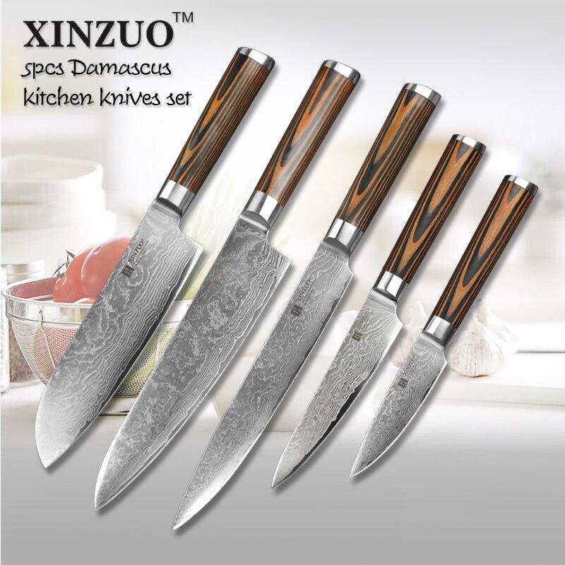 XINZUO 5pcs kitchen font b knife b font set 73 layer Japanese VG10 Damascus kitchen font