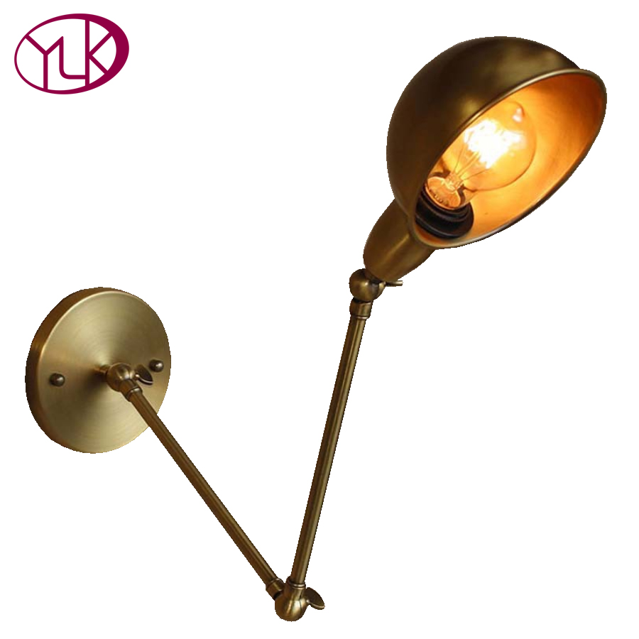 купить Youlaike New Vintage industrial style loft creative minimalist long arm wall lamp adjustable Handle Metal Rustic Light Sconce по цене 3259.59 рублей
