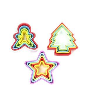 Набор для резки печенья и печенья, Fondant & sandwich фрезы различных размеров. Круглые, сердце, цветы, квадратные, дерево, звезда, Пряничный человек