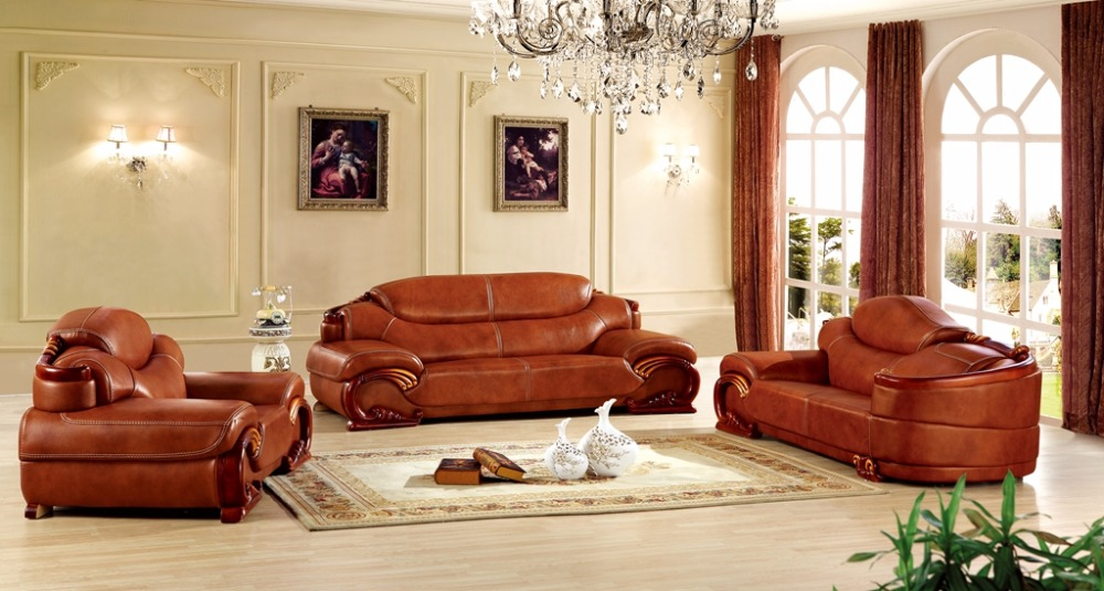 Antique European Chesterfield Leather Sofa Set Living Room Furniture Made In China Sectional