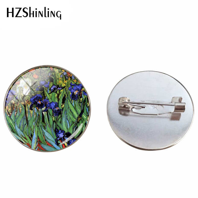 Vintage Van Gogh Lukisan Minyak Cabochon Bros Pin Malam Berbintang Lukisan Perhiasan Pin Bunga Matahari Bros Aksesoris Pakaian