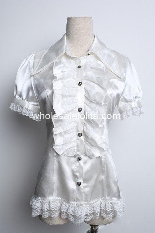 Chemisier sur mesure blanc dentelle manches courtes gothique Lolita chemisier dentelle Lolita chemisier gothique