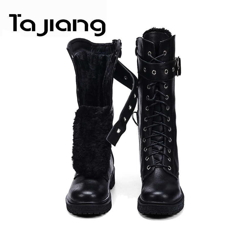 Ta Jiang moda sıcak peluş kış kadın orta buzağı çizmeler kadın ayakkabı sonbahar Zip motosiklet çizmeler toka ile ayakkabı kadın