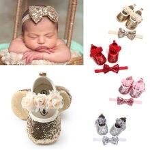 Летняя детская обувь для новорожденных девочек и мальчиков, 3 стиля, расшитая блестками, на плоской подошве, толстый каблук, обувь принцессы+ повязка на голову, 2 предмета