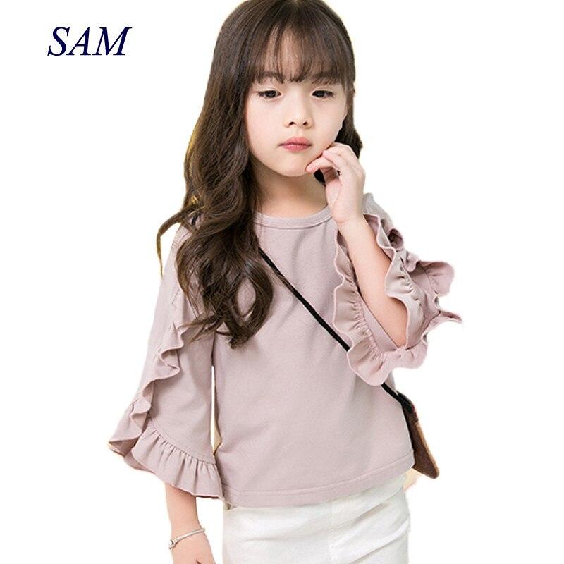 Girls Shirt Tops Long-Sleeve Ruffes Autumn Children Fashion New-Design Outfits Outwear