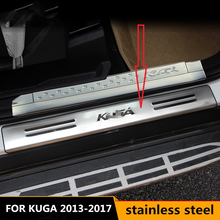 stainless steel door sill strip for KUGA FORD 13 14 15 16 17 Exterior car-styling welcome pedal Scuff Plate cover Threshold Trim stainless steel sill strip for k ia k2 car styling exterior accessories window trim