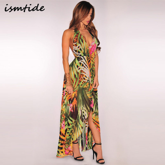 6a6eaeada6 Floral print halter slit chiffon maxi dresses Strap v neck split beach  summer dress Sexy backless women dress long vestidos