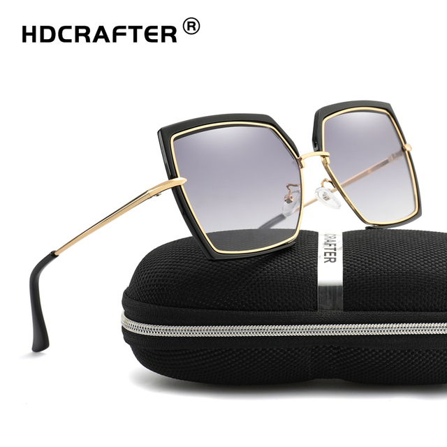 eb951d75f77 HDCRAFTER square sunglasses women vintage Classic Style Oversize Luxury  Brand Designer sun glasses for female