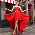 2016 new Hot sale Korean Style Strapless After short before long bride evening dress formal Chiffon Lace up Vestidos de fiesta