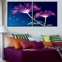 2 יחידות הטוב ביותר סגול פרחי בית תפאורה אמנות קיר בד תמונת סלון בד ציור מודרני הדפסת בד גדול אמנות זול