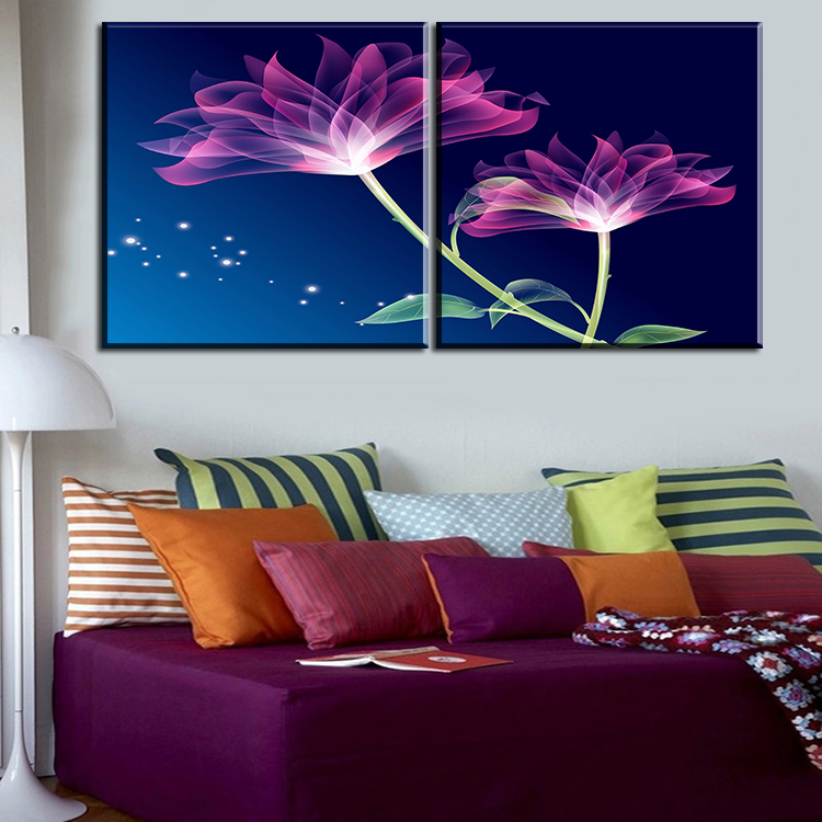 2 pcs best purple flower home decor canvas wall art picture living room canvas print modern. Black Bedroom Furniture Sets. Home Design Ideas