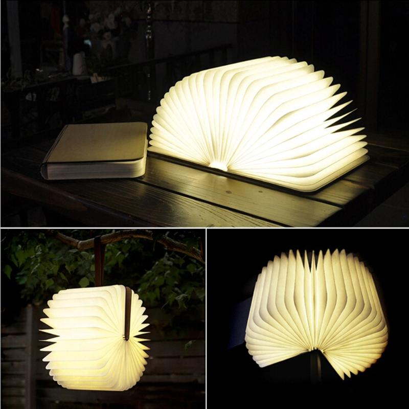 New Book Shape LED Night Light USB Wooden Book Lamp Home Decoration Girl Holiday Gift Baby Room Bedside Lamp icoco usb rechargeable led magnetic foldable wooden book lamp night light desk lamp for christmas gift home decor s m l size