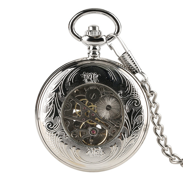 Fob Mechanical Hand Wind Pocket Watches With Chain Necklace Hollow Crown Pointers Roman Numbers Silver Watch Elegant Clock