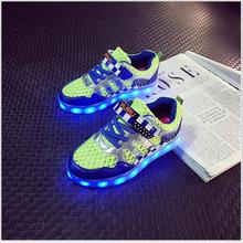 Eur size 25-34 Children LED luminous shoes boys girls USB recharg shoes casual flat kids sneakers colorful light children shoes