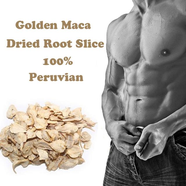 200 g/lote Peruana raíz de maca seca rebanada de oro hombres de extractos de raíz de Maca en polvo mejora aumentar la energía de cuidado personal masculino