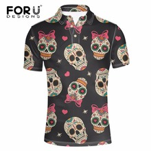 FORUDESIGNS Fashion Punk Skulls Print Men Polo Shirt Summer Short Sleeve Comfort Breathable Casual Polos For Male Chemise Homme