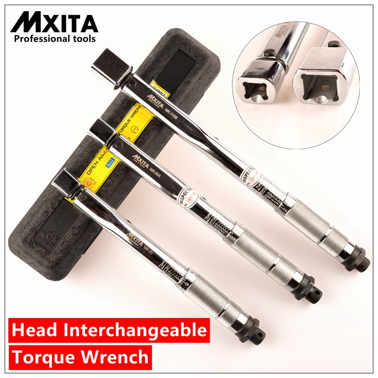 MXITA Interchangeable Torque Wrench Adjustable Torque Wrench Hand Spanner Repairing Tools hand tool set mxita 1 2 5 60n adjustable torque wrench hand spanner car wrench tool hand tool set