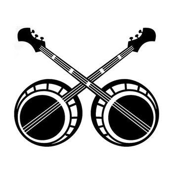 17cm * 14cm Banjo Bluegrass vinilo calcomanía accesorios coche pegatinas decoración negro/plata S3-4953