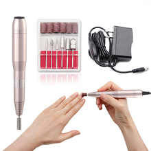 UK / EU / US plug Professional Electric Nail Drill Pen 6 Bits Nail Nursing Kit Manicure Polish Machine Nail Art Tool недорого