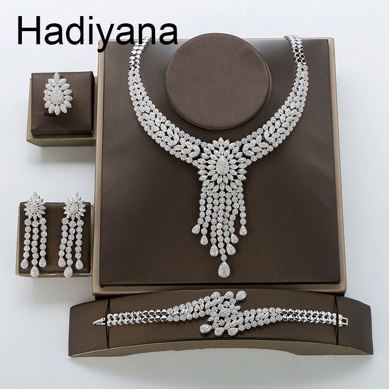 Hadiyana Luxury Bride Wedding Engagement Set Shiny Inlaid AAA Zircon Tassel Sets For Women Necklace Bangle Earrings Ring TZ8125 a suit of fashionable zircon inlaid hollow out necklace and earrings for women