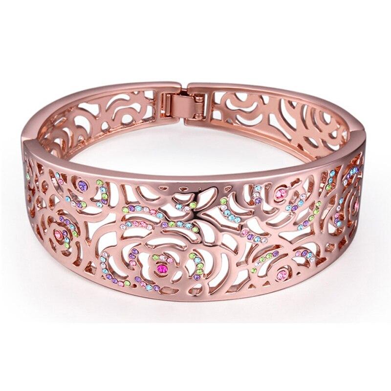 Turkish European Style Women Bracelet Flower Pattern Wrist Bangles Rose Gold Color Brand Jewelry Austria Crystal