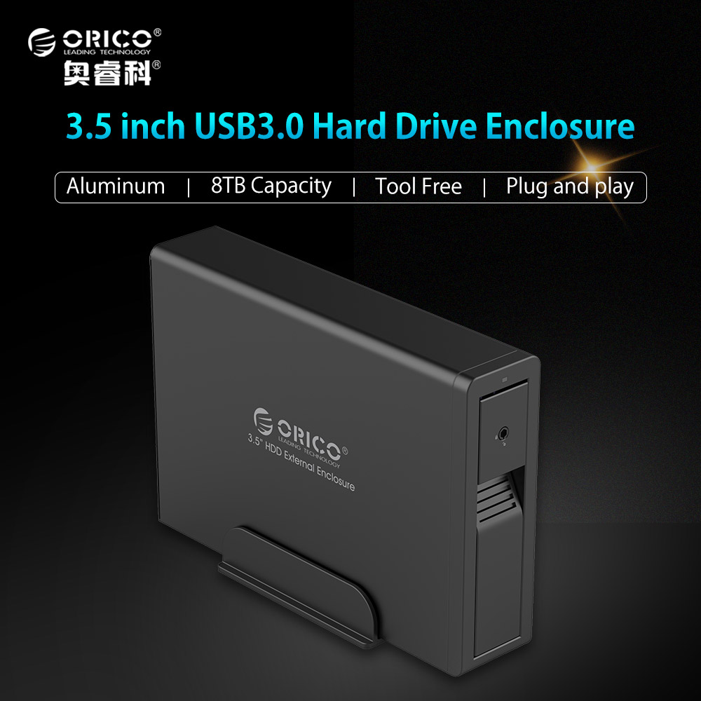 ORICO 7618US3 Aluminum Hard Drive HDD Enclosure USB3.0 to SATA 3.5 inch HDD Case Aluminum Tool Free Support UASP 12V2.5A Power orico 9528u3 2 bay usb3 0 sata hdd hard drive disk enclosure 5gbps superspeed aluminum 3 5 case external box tool free storage