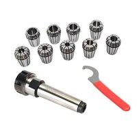SHGO Er25 Spring Clamps 9Pcs Mt2 Er25 M12 1Pcs Er25 Wrench 1Pcs Collet Chuck Morse Holder Cone For Cnc Milling Lathe Tool
