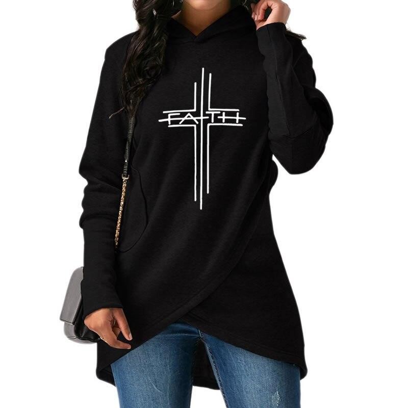 Hohe Qualität und Große Größe 2018 Mode Glauben Drucken Hoodies Sweatshirts Frauen Tops Harajuku Hooday Mädchen Dicke Lustige Kreative