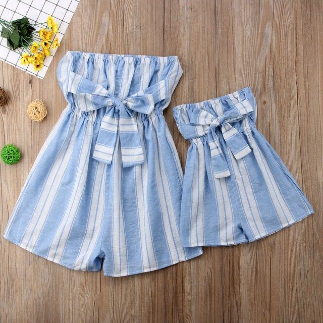 Mother Kids Women Toddler Girls Bowknot Stripe Romper Jumpsuit Playsuit  Vertical Stripe Sleeveless Summer Clothing 30b6181c7