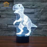 BRIGHTINWD Dinosaur Night Light 3D Creative Touch USB Interface Remote Control Desk Lamp Energy Saving LED Illusion Light