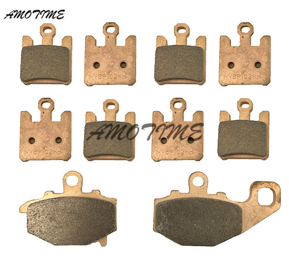 Motorcycle Parts Copper Based Sintered Motor Front & Rear Brake Pads For Kawasaki ZX-6RR ZX6R 2003-2006 ZX 10 R 2004-2007 06