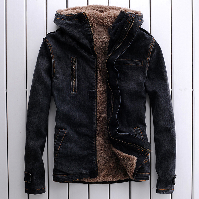 Us 6137 49 Offrussian Winter Style Men S Velvet Denim Jackets Imported Thick Mens Hooded Jeans Jackets Overcoats Mens Winter Clothing Brand In
