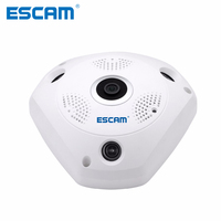 ESCAM Shark QP180 960P IP Camera WiFi Network Fisheye 1.44mm 360 WiFi security Cameras Surveillance CCTV Camera support VR BOX