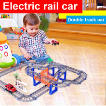 90pcs DIY Magic Electronics LED Cars Toys Flashin Variety Speed Car Train Model Assembly Racing Rail Tracks Toy For Children