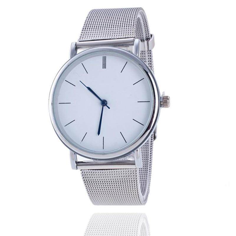 Drop Shipping Fashion Silver Mesh Quartz Watch Women Metal Stainless Steel Dress Watches Relogio Feminino Gift Clock Montre