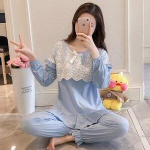 Image 3 - Pijama, primavera feminina, outono, princess breeze, versão coreana, mangas compridas dos alunos frescos, renda de algodão puro, dois conjuntos de wi