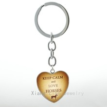 Keep Calm and Love Horses keychain vintage Horse key chain ring Jewelry Horse Lover Birthday Christmas New Year Gift keyring H35(China)