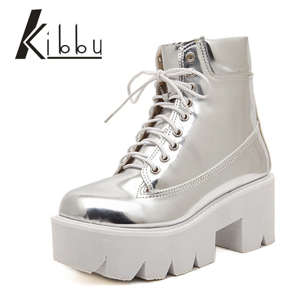 KIBBU Lace Up High Heels Women Punk Style Ankle Boots Thick Bottom Platform Shoes European Motorcycle Leather Boots 6 colors liviana conti короткое платье