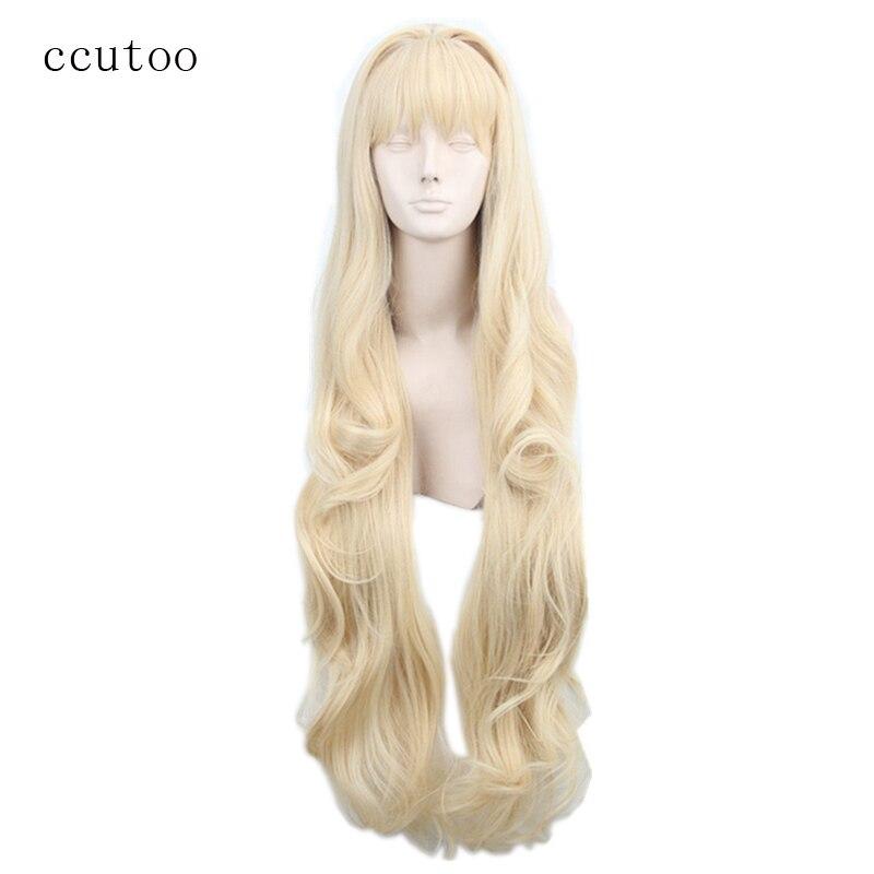Ccutoo volcaloid3 seeu, 100cm luz loira encaracolado longo cabelo sintético cosplay peruca resistência ao calor fibra