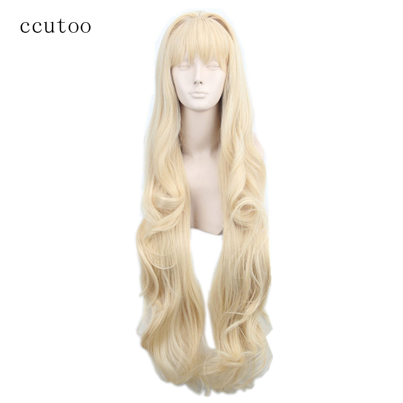 ccutoo Volcaloid3 SEEU, 100cm hellblondes lockiges langes synthetisches Haar Cosplay Perücke