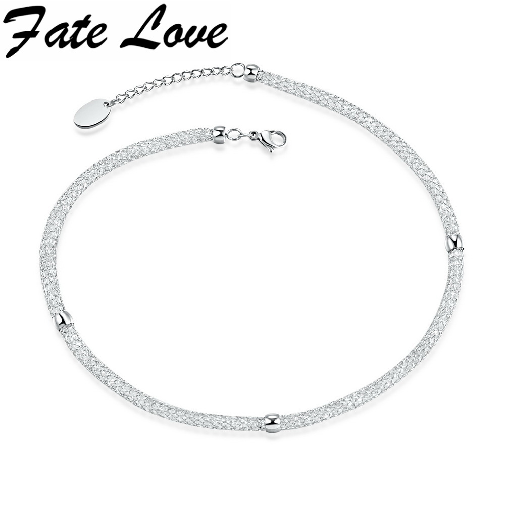 Fate Love Women Charm Mesh Neckline Necklace For Party Hollow Light Collar Chocker Necklace White Color OL Style Jewelry FL1330