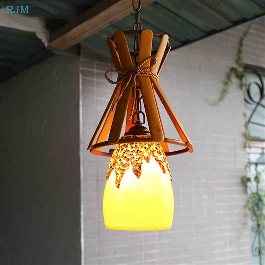 Nordic Creative Bamboo Pendant Lamps European Vintage Resin Lampshade Hanging Lights for Restaurant Cafe Bar DecorNordic Creative Bamboo Pendant Lamps European Vintage Resin Lampshade Hanging Lights for Restaurant Cafe Bar Decor