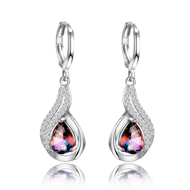 Luxury Jewelry Earrings Women's Water Drop Silver Earrings With AAAA Zircon New Fashion Fine Jewelry Girl Daily Life Accessories
