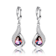 Luxury Jewelry Earrings Women's Water Drop Silver Earrings With AAAA Zircon New Fashion Fine Jewelry Girl Daily Life Accessories(China)