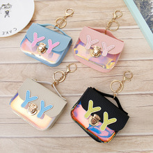 Korean version of the small bright color mosaic ladies purse with key ring square coin