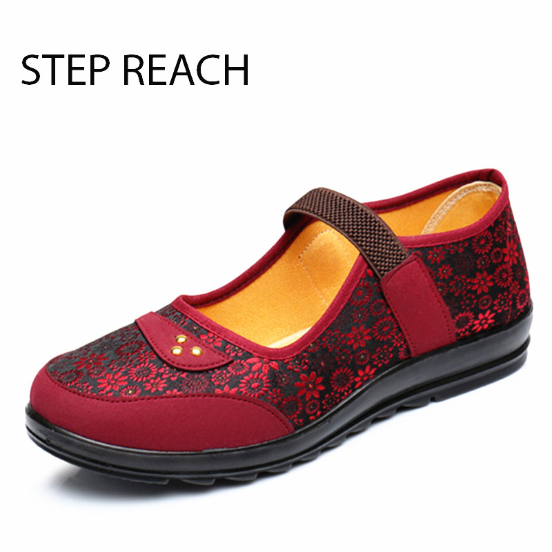 STEPREACH Women Embroidery  Flats  Shoes canvas Flower Slip On Casual Shoes Comfortable Round Toe Shoes Women  Cloth Dancing Sho vintage embroidery women flats chinese floral canvas embroidered shoes national old beijing cloth single dance soft flats